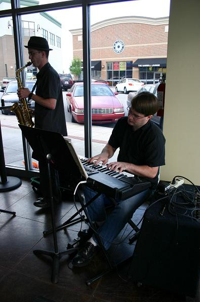 Samuel Stokes and Jarrod Warren playing jazz music at JP Coffee in Lee's Summit, MO